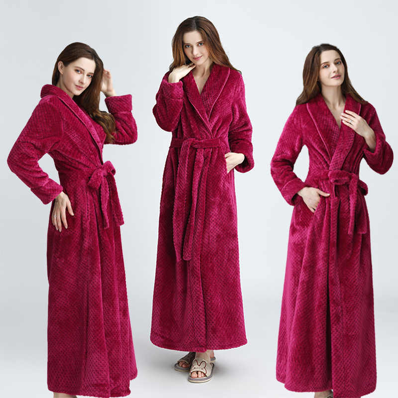 bed5892fd6 Women Men Extra Long Warm Dobby Coral Fleece Bathrobe Winter Thick Flannel  Thermal Bath Robe Kimono