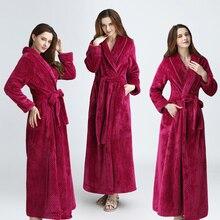 Women Men Extra Long Warm Dobby Coral Fleece Bathrobe Winter Thick Flannel Thermal Bath Robe Kimono