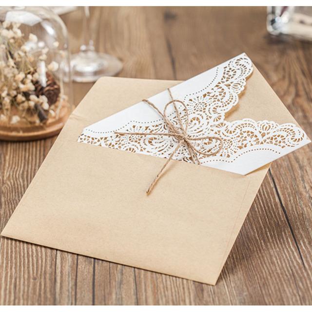 White Invitation Card with Ribbon