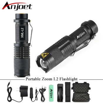 Anjoet Ultra Bright Mini zoom flashlight led torch cree xml t6 l2 waterproof lanterna rechargeable light ues 18650 penlight cree xml t6 led flashlight 8000 lumens lanterna adjustable led torch zoom tactical flashlight charger 1 18650 battery