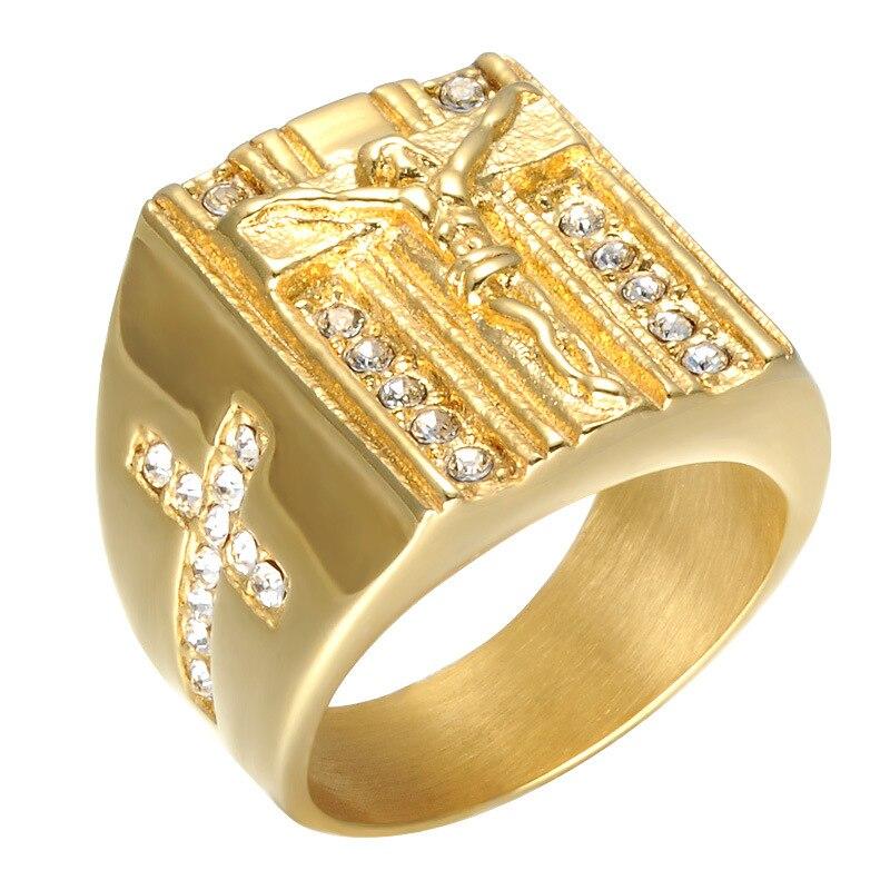 Fooderwerk Jewelry Jesus Cross White Cubic Zirconia Ring For Men