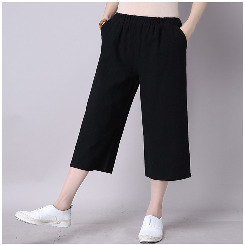 2018 Fashion Summer Wide Leg Pants Women High Waist Loose Calf-Length straight Pants Elegant Office Ladies Trousers Plus Size