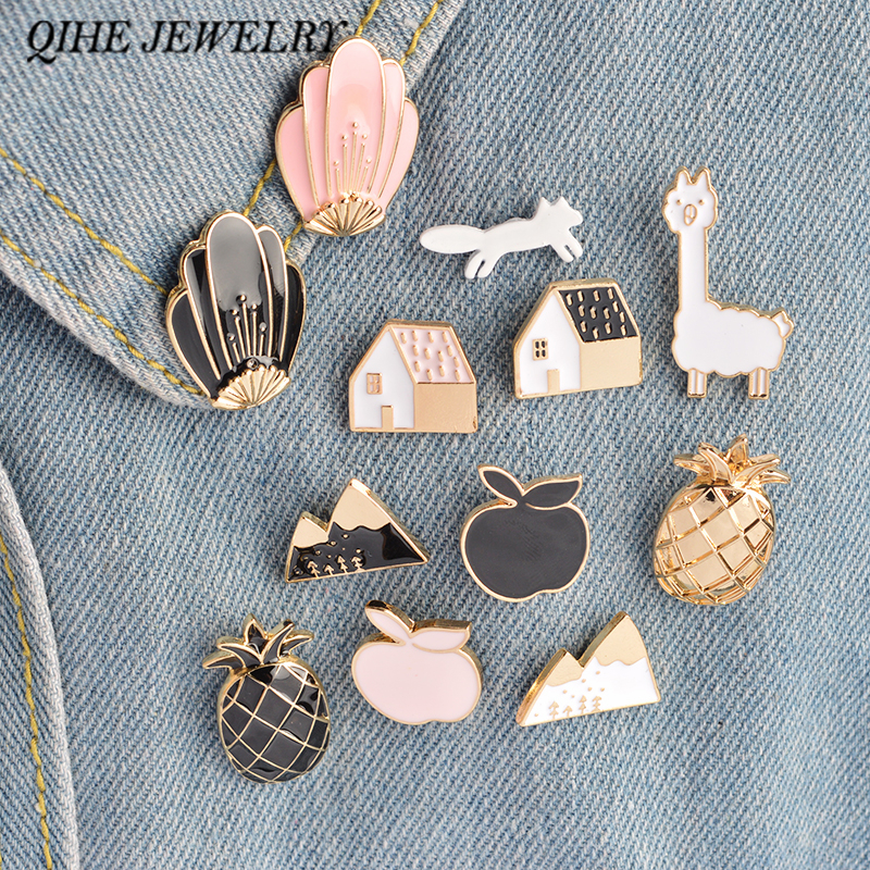 QIHE JEWELRY 1 Set nanas Apple Alpaca Fox Bunga Rumah Logam Lucu Enamel Pin Set Fashion Jewelry Aksesoris