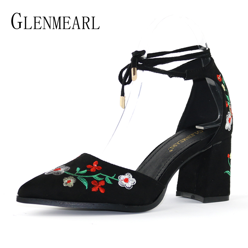 Women Pumps Brand High Heels Shoes Embroider Ankle Strap Summer Woman Shoes Plus Size Thick High Heel Wedding Pumps Female DE luxury brand crystal patent leather sandals women high heels thick heel women shoes with heels wedding shoes ladies silver pumps