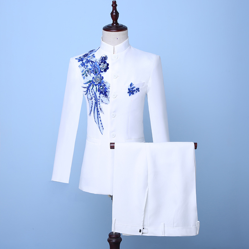 2019 Autumn Chinese Style White Stand Collar Two-Piece Men's Jacket Suits Blue Sequin Groom Suit Costumes(Jacket+Pants)