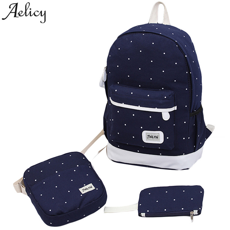 Aelicy 3pcs/set canvas backpack women dot school bag for teenagers girls preppy style composite bags set travel female backpacks women backpack 3pcs set canvas printing preppy style school bag for teenage girls backpack travel back pack mochila escolar