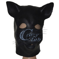 Crazy club_Black Latex Varken Masker met back rits Hoofd Kostuum Theater Prop Novelty Rubber Volledige Gezicht Dier Party Hood