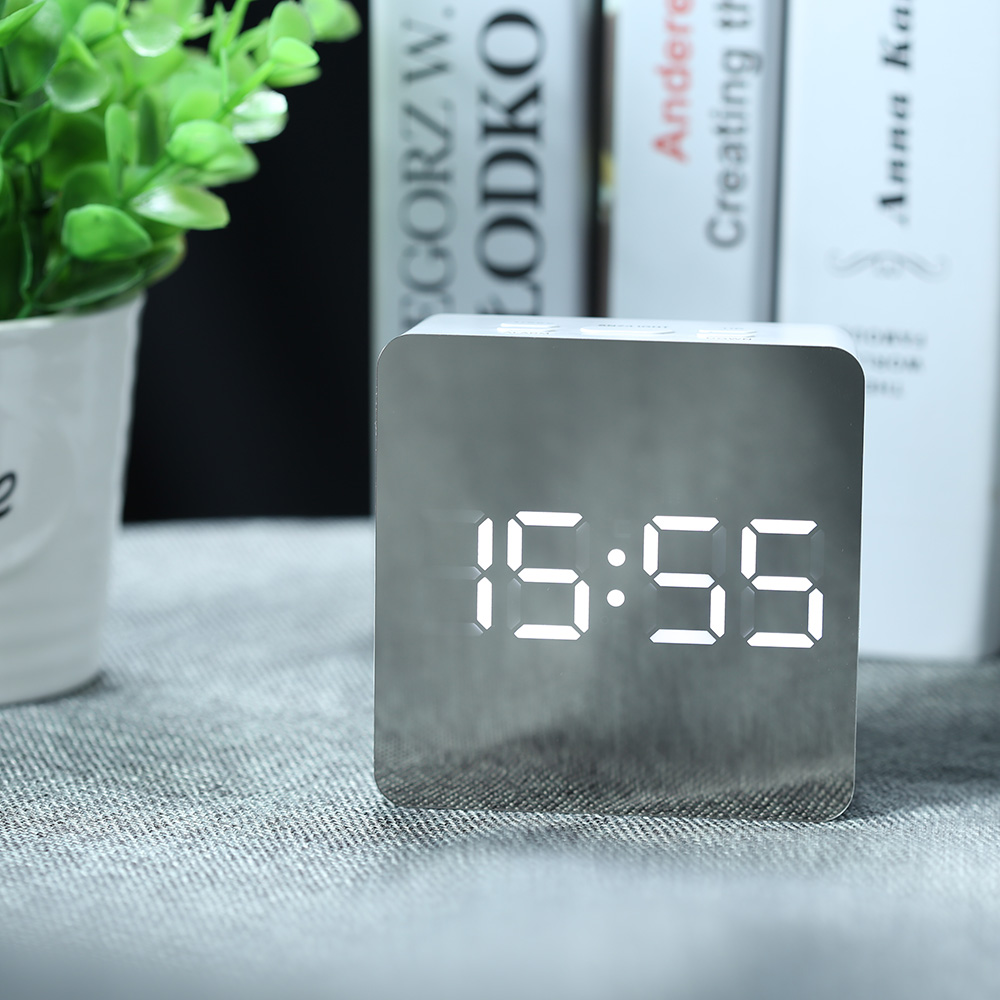 LED Alarm Clock Digital Electronic LED Mirror Clock Multifunction Temperature Snooze Large Display Home Decor Despertador Reveil 18