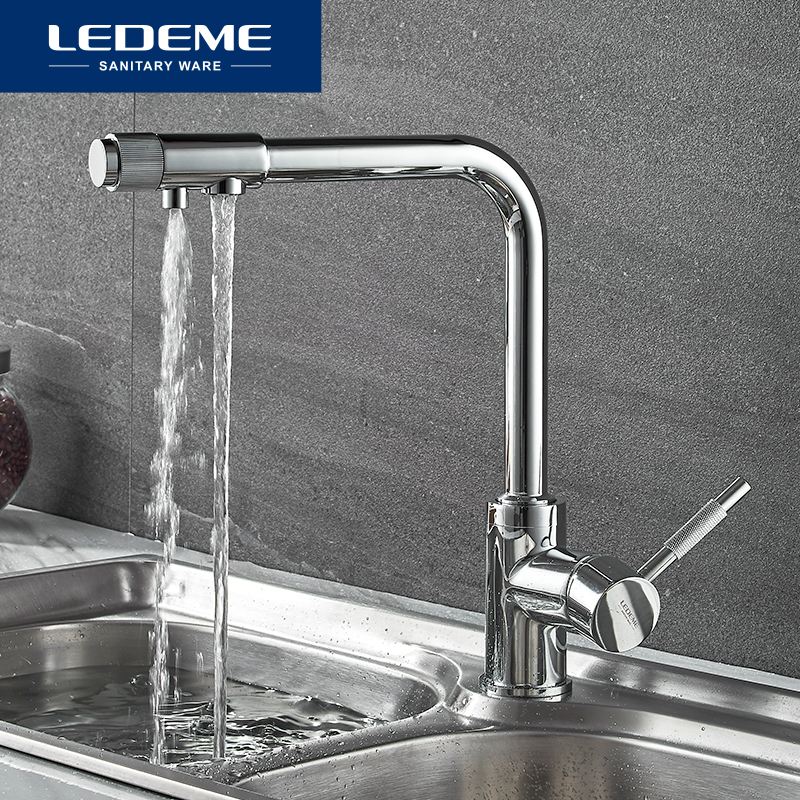 LEDEME Chrome Kitchen Faucet Brass Swivel Drinking Water Faucet 2 Way Water Filter Purifier Kitchen Faucets