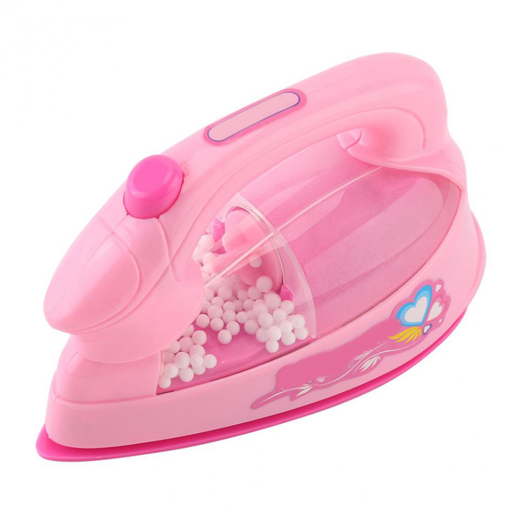 1Pc Pretend Play Mini Electric Iron Plastic Pink Safrty Plastic Light-up Simulation Kids Children Baby Girl Home Appliances Toy