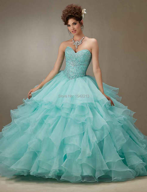Hot Sale Mint Green Pink Ball Gown Quinceanera Dress Sparkle ...