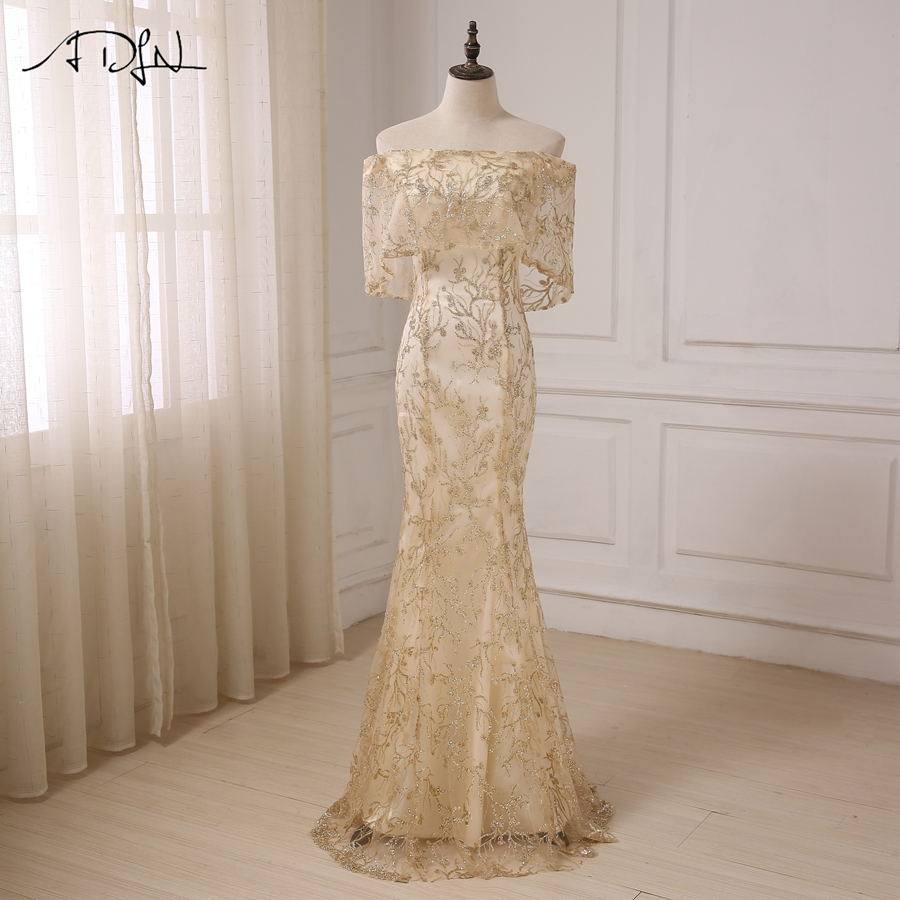 ADLN Gold Mermaid Prom Dresses Off the Shoulder Floor Length Lace Applique Sequins Formal Evening Dress