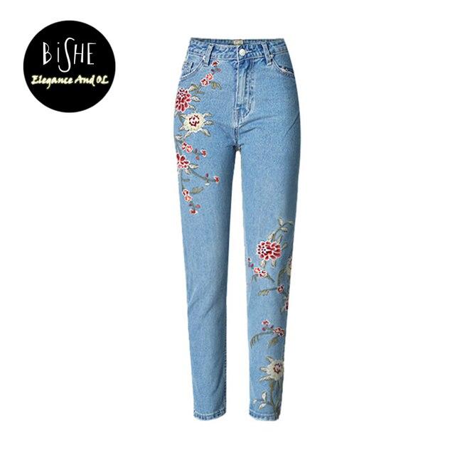 1ad1e817d2 Jeans Con Bordados Vaqueros Mamá Pantalon Femme Flor Denim Jeans Boyfriend  Mujer Para Las Mujeres Blanqueado