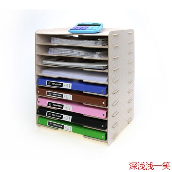 089 Office Supplies Multilayer 4 Shelf Storage Wooden File Cabinet Desk  Document Tray Classification