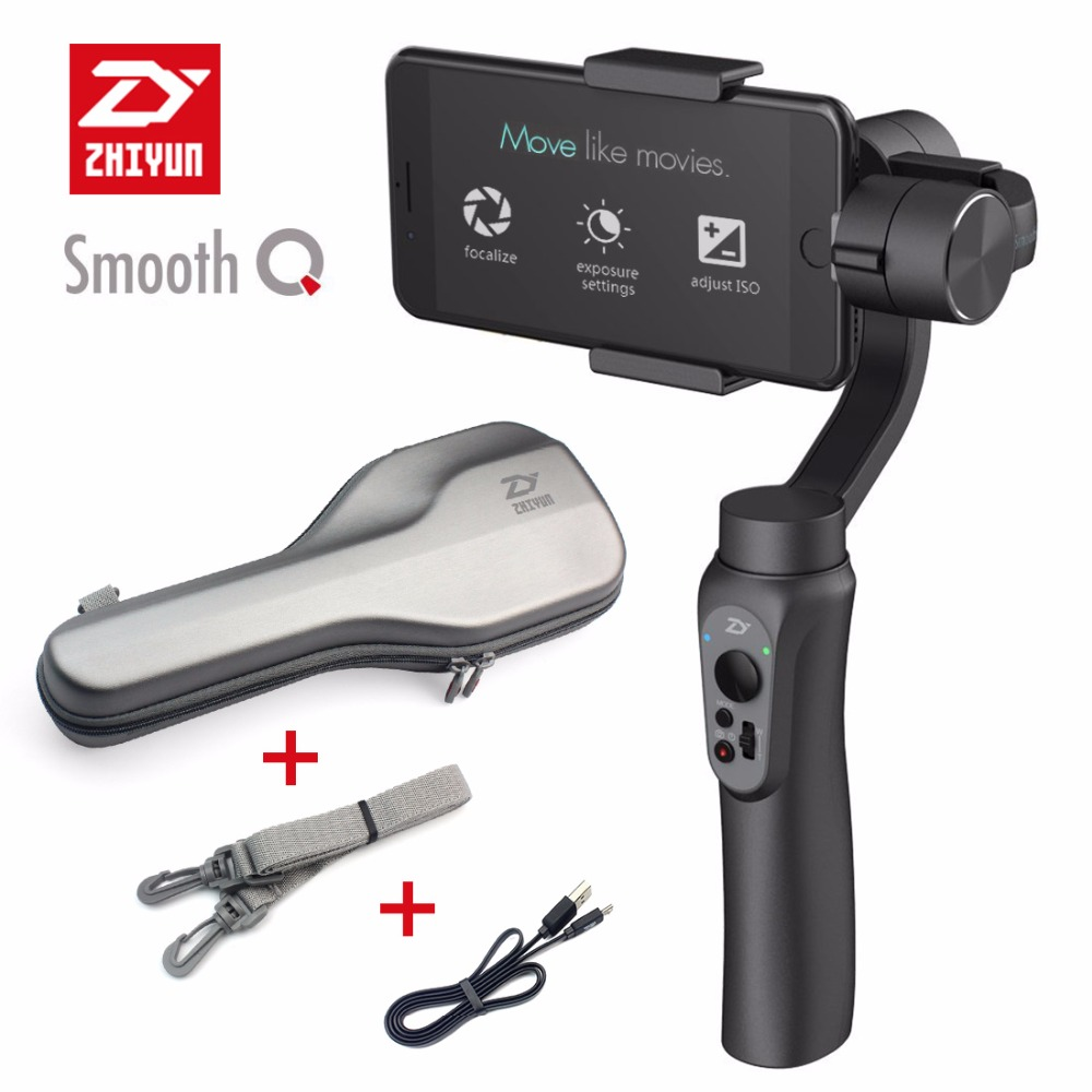 Zhiyun Smooth Q 3-Axis Handheld Gimbal Smartphone Stabilizer for GoPro 3 4 5 iPhone 7 Plus Samsung S7 S6 VS Smooth III Model ulanzi zhiyun smooth q handheld 3 axis smartphone gimbal video stabilizer for iphone 7 samsung gopro hero 5 4 sjcam yi cameras