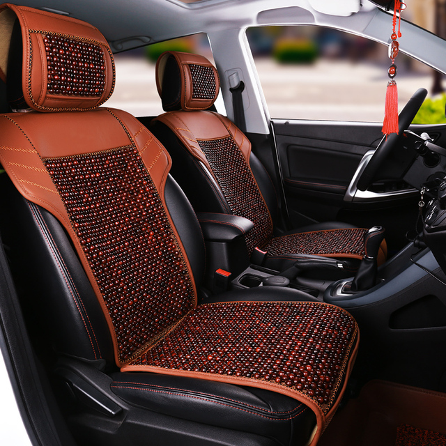 Natural Wood Beads Comfortable Breathable Car Cushion For Toyota Rav4 Prado Highlander Corolla Prius Interior Accessories