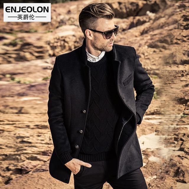 Enjeolon бренд 2017 Для мужчин Бизнес повседневные длинные шерсть и смесь куртка мужской Однобортный шерстяные пальто Верхняя одежда ветровка W2002