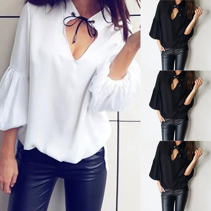 Sexy Ol Chemises Noir Noir Ws7224x Camisoles Femmes Été V Blouse Manches Blusas Corne blanc En Style Col Mujer Vrac Casual w84pdxn