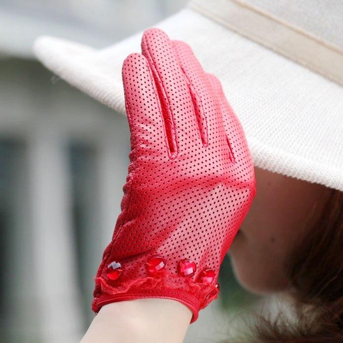 Spring Short Breathable Lady Sheepskin Leather Gloves