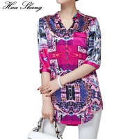 Women Summer Casual Chiffon Blouse Half Sleeve V Neck Print Irregular Long Shirt 3xl 4xl Plus