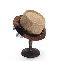 Hot Sale+Flat top straw hat Summer Spring women's trip caps leisure pearl beach sun hats breathable fashion flower M57