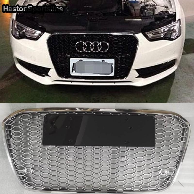 Pour Audi A6 C7 RS6 S ligne S6 Style cadre chromé noir pare-chocs avant Grille accessoires de voiture 2012 ~ 2015