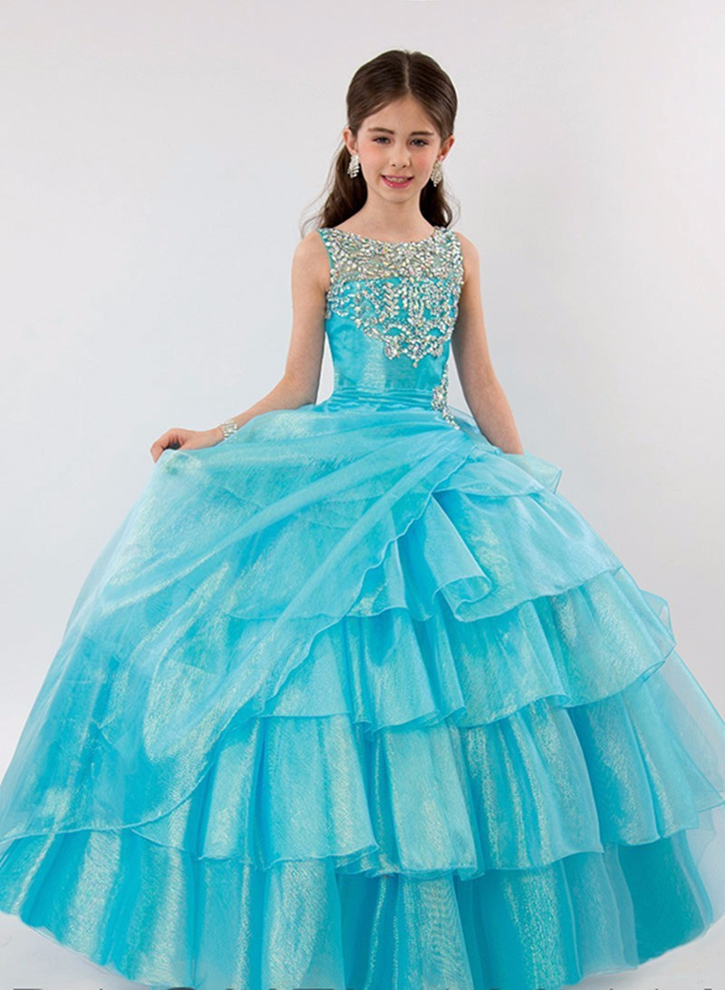 Luxury Shiny Crystals Sky Blue Girls Dresses Ball Gown Girls Pageant Gown Wedding Party Gown for Girls Size 2-16