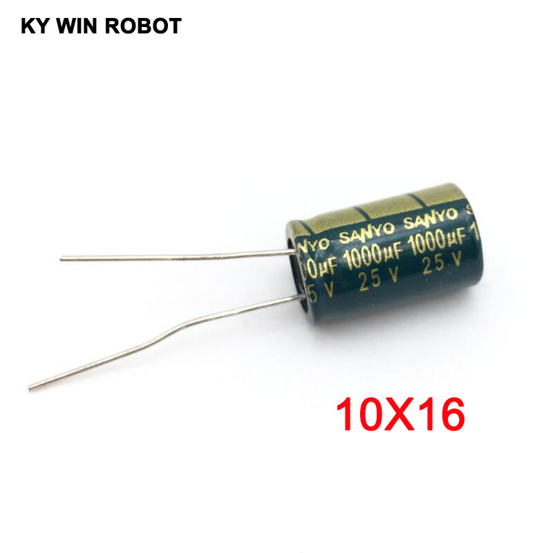 10PCS/LOT 25V 1000UF 10*16 High Frequency Low Impedance Aluminum Electrolytic Capacitor 1000uf 25v
