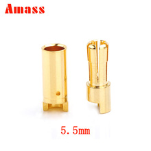 1 pair Amass 5.5mm gold Bullet Connector plug for RC battery