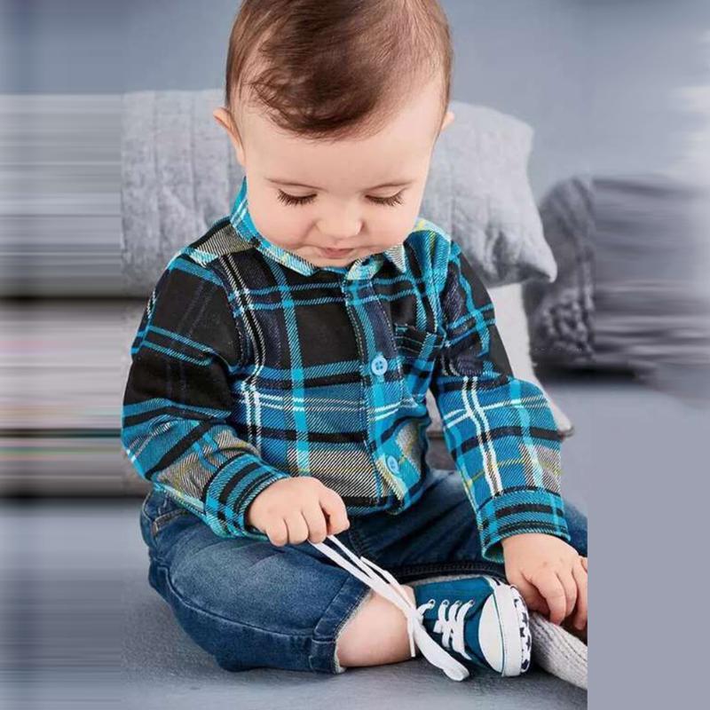 2pcs Baby Boy Clothes 2018 Autumn Newborn Baby Sets Infant Clothing Gentleman Suit Long Sleeve Plaid Romper + Denim Jeans Pants