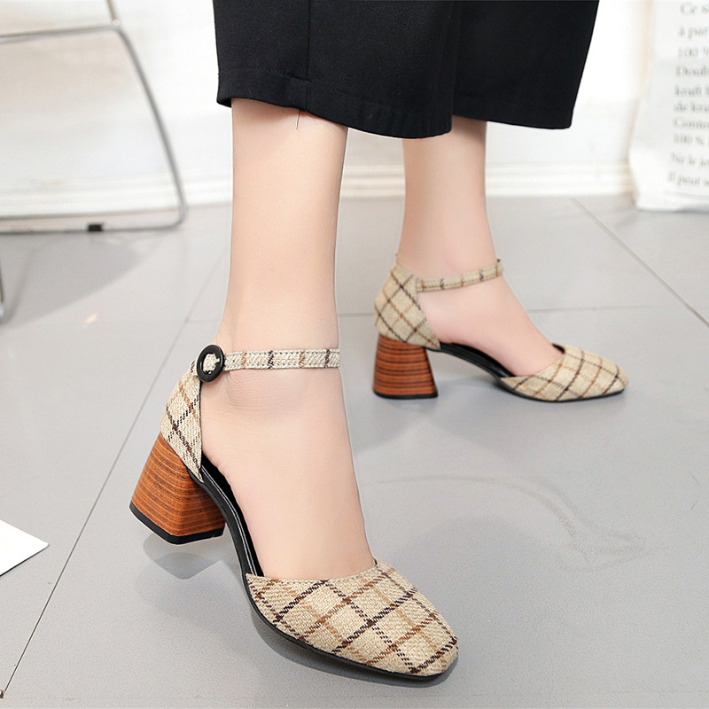 High Heels Shoes Women Pumps Square Toe Summer Sandals Thick Heels Plaid Casual Good Quality Female Office Shoes Comfortable 4