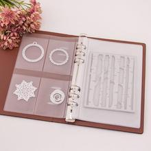 5 Sheets Cutting Dies Storage Book 1/3/4 Grids Album For Silicone Stamps Metal Organizer Case