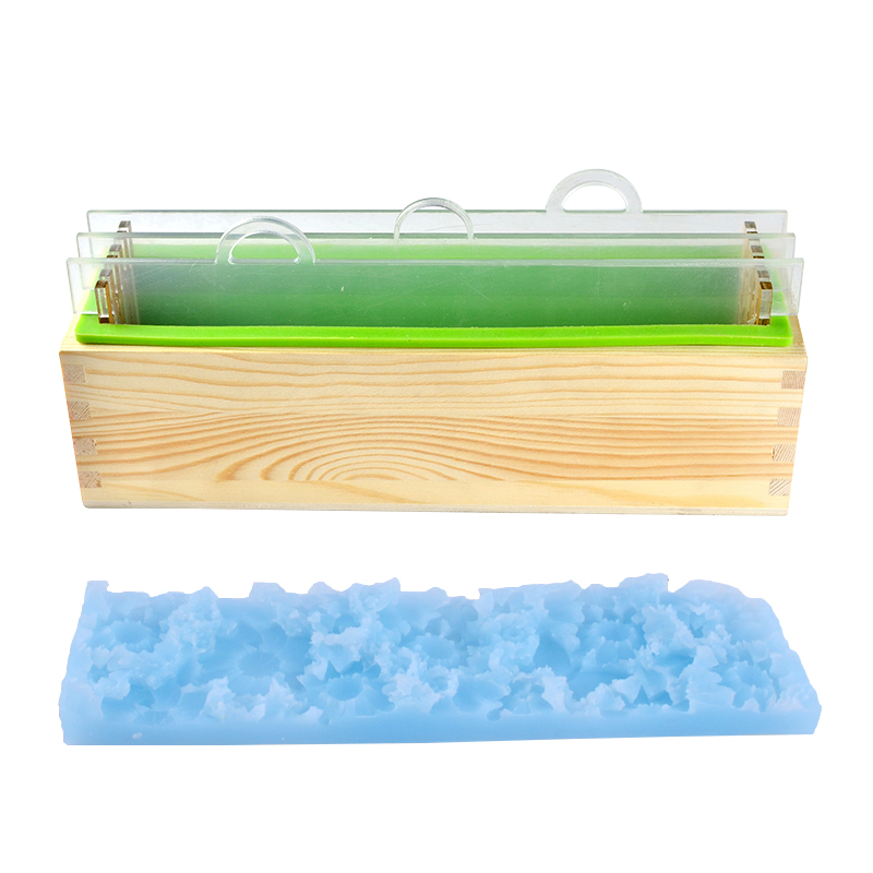 Silicone Render Loaf Soap Mold Set Handmade Soap Mould With Transparent Vertical Acrylic Clapboard & Flower Mat