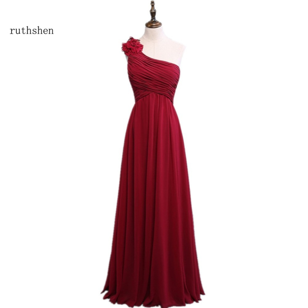 Ruthshen wine red bridesmaid dress cheap one shoulder long for Red wedding dresses cheap