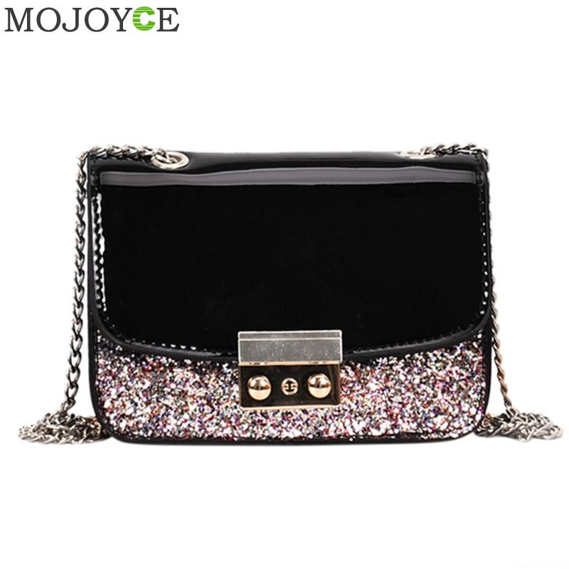 Fashion Women Sequined Messenger Bag Quality PU Leather Womens Flap Bag Chain Strap Female Shoulder Bag Lay Crossbody Bags