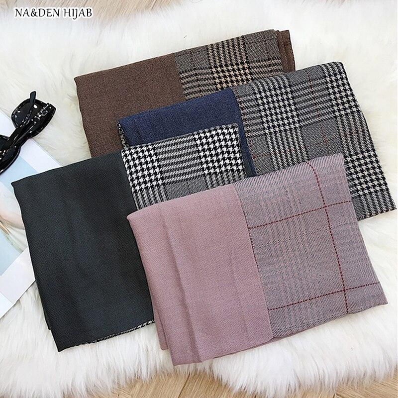 NEW plaid with plain print hijab scarf geometric grid pattern pashmina fashion muslim hijabs soft women