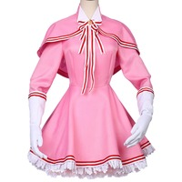 Free Shipping Anime Cardcaptor Sakura Cosplay Costume Kinomoto sakura Cosplay Dress Cosplay Battle Suit For Halloween