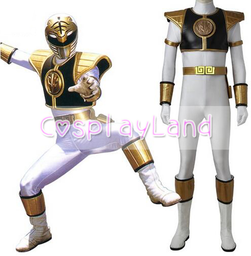 Tyranno Ranger White Ranger Cosplay Costume Adult Halloween Costume White Ranger Tommy Jumpsuit Zyuranger Cosplay Uniform