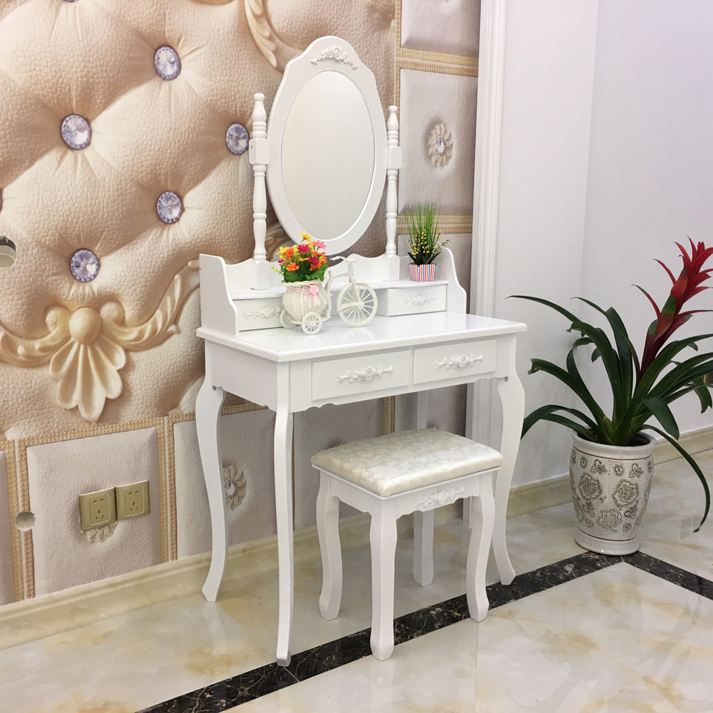 . US  88 59  White Vanity Makeup Dressing Table Set with Stool 4  Drawer Mirror Jewelry Wood Desk US Shipping in Dressers from Furniture on