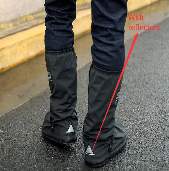 Retail and wholesale With Relectors Waterproof reusable Motorcycle Cycling Bike Rain Boot Shoes Covers Easy to ride for rider