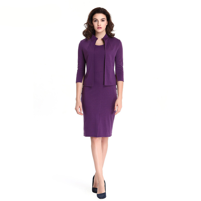 Autumn Solid Ladies Jacket Dress Suits Plus Size Knitted Dress