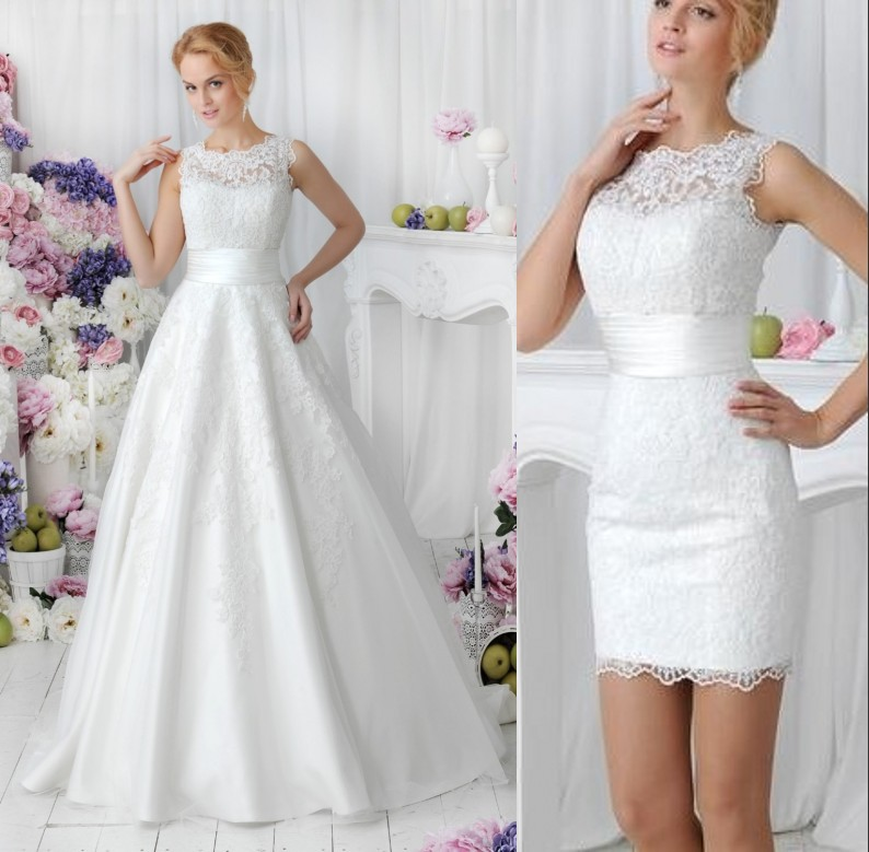 2 In 1 Style Vintage Lace With Detachable Skirt Vestido De Novia Vestido De Noiva Bridal Gown Robe De Soiree Mother Bride Dress