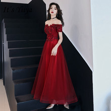 Its YiiYa Evening Dress Vintage Boat Neck Sleeveless Formal Prom Dresses Floral Beading Wine Red Long Lace Up Party Gowns E008