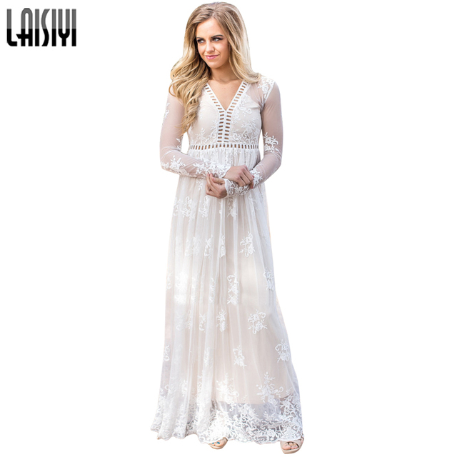 LAISIYI White Lace Embroidery Maxi Dress Long Sleeve Elegant Party Dresses  Long V-neck Autumn Ladies Vestidos Cute ASDR20393 515d3ff3fe10