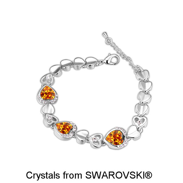Women S White Gold Color Full Hearts Bracelet Made With Swarovski Elements Crystal For Valentine