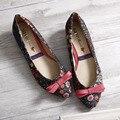 2016 nuevas mujeres primavera de flores arco calza los zapatos de estilo coreano floral de señora shoes talón bowtie elegantes del partido 35-40