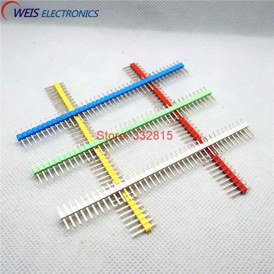 5colors * 20pcs=100pcs 2.54mm 1*40p Green + White + Red + Yellow + Blue Single Row Male 1X40 Pin Header Strip connector
