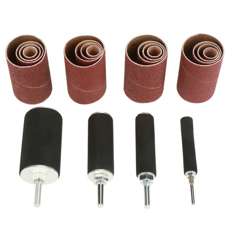 20pcs/set Sanding Drum Set Drum Sander Kit Including Abrasive Sleeves Drum Rubber Mandrels For Drill Press Woodworking Kit
