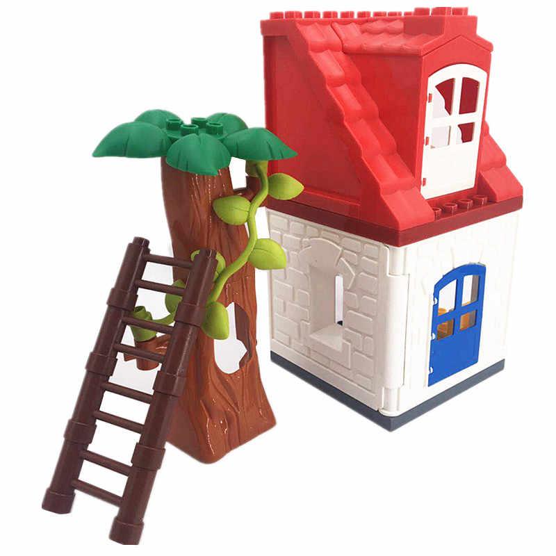 Haus Schloss Fenster Dach Leiter Tiere Möbel Bausteine Baby Spielzeug für Kinder L Marke Duploed Pädagogisches Spielzeug