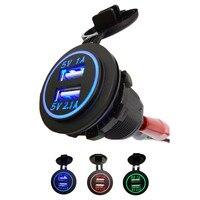 R1B1 12V 24V Universal Dual USB Car Cigarette Lighter Charging Socket Free Shipping Free Shipping Wholesale